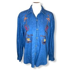 VTG Western Rodeo Chambray Button Up Shirt Sz L
